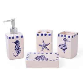 White and Blue Colour Sea Aniamal Pattern 1 Toothbrush Holder (Size 10x7 Cm), 1 Tumbler (Size 10x7 Cm), 1 Soap Dish (Size 19x9 Cm) and 1 Lotion Dispenser (Size 18x6 Cm)