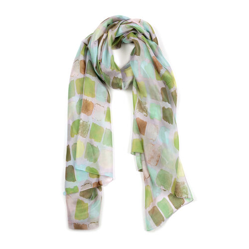 100% Mulberry Silk Green and Multi Colour Abstract Pattern Scarf (Size 180x100 Cm)