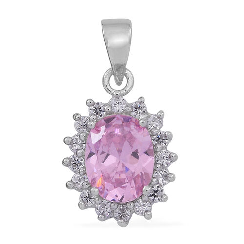 ELANZA AAA Simulated Pink Sapphire (Ovl), Simulated White Diamond Pendant and Stud Earrings (with Push Back) in Rhodium Plated Sterling Silver