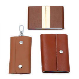 Brown Colour Wallet, Key Chain Holder and Card Holder
