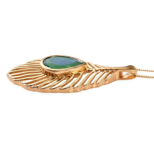 Peacock Quartz (Pear) Peacock Feather Pendant with Chain in 14K Gold Overlay Sterling Silver 5.750 Ct.