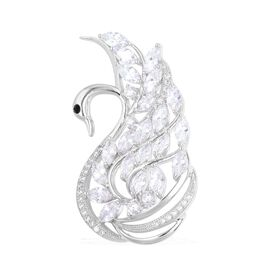 AAA Simulated White Diamond and Black Austrian Crystal Swan Brooch in Silver Tone