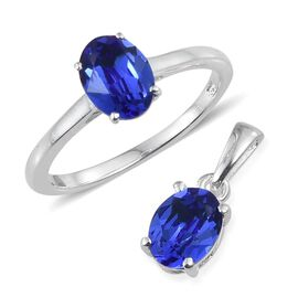 Crystal from Swarovski - Sapphire Colour Crystal (Ovl) Solitaire Ring and Pendant in Sterling Silver