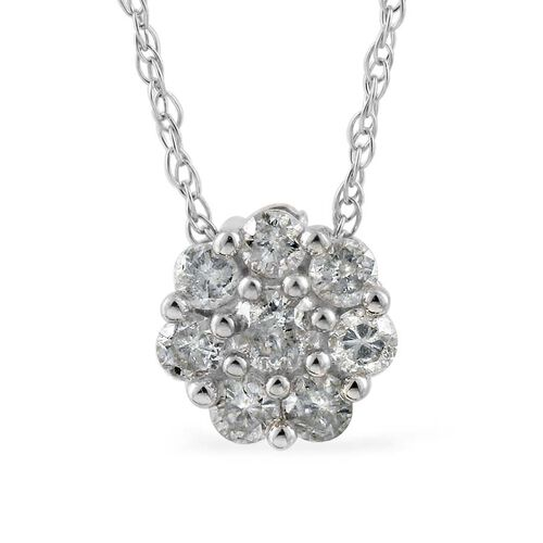 9K W Gold SGL Certified Diamond (Rnd) (I3/G-H) Floral Pendant With Chain 0.500 Ct.