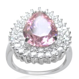 ELANZA AAA Simulated Pink Sapphire (Pear), Simulated Diamond Ring in Rhodium Plated Sterling Silver