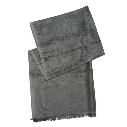 Damask Pattern Dark Grey Colour Jacquard Scarf with Tassels (Size 180x70 Cm)