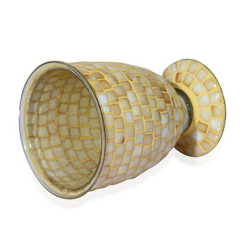 Home Decor - Golden Colour Mosaic Glass Flower Vase