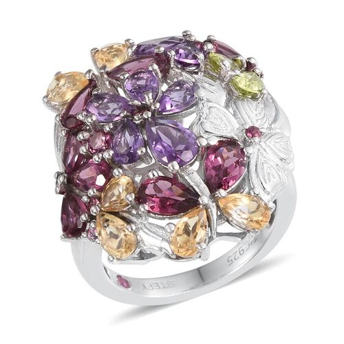 Stefy Rhodolite Garnet (Pear), Amethyst, Hebei Peridot, Citrine and Pink Sapphire Floral Ring in Platinum Overlay Sterling Silver 6.000 Ct.
