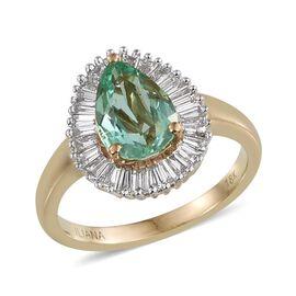 ILIANA 18K Y Gold Boyaca Colombian Emerald (Pear 2.00 Ct), Diamond Ring 2.500 Ct.