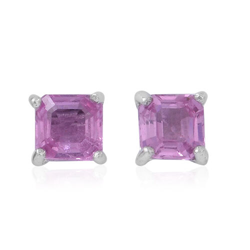 ILIANA 18K W Gold Pink Sapphire (Asscher Cut) Stud Earrings (with Screw Back) 1.250 Ct.