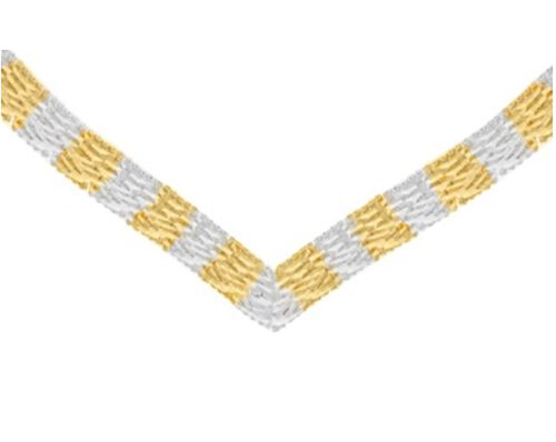 Close Out Deal Italian Yellow and White Gold Overlay Sterling Silver Chevron Necklace (Size 17), Silver wt 40.10 Gms.