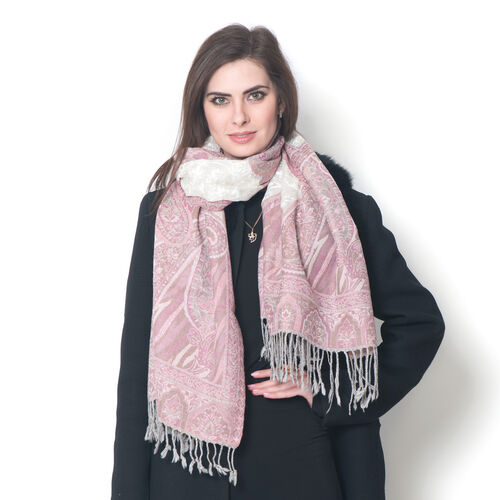 100% Merino Wool Jacquard Weaving Paisley Pattern Pink and White Colour Scarf with Fringes (Size 175x70 Cm), Weight 200 Gram