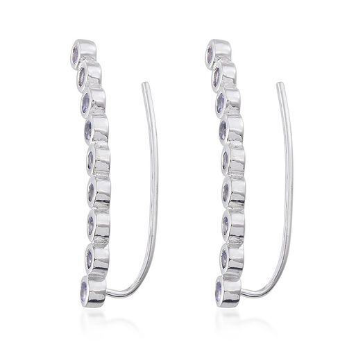 Tanzanite (Rnd) Climber Earrings in Platinum Overlay Sterling Silver 2.250 Ct.