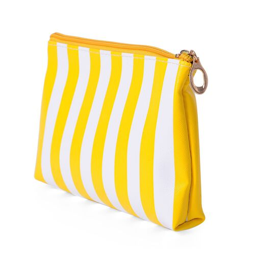 Set of 3 - Transparent Large (Size 26x15x6 Cm), Yellow and White Stripe Pattern Medium (Size 19x12.5x2.5 Cm) and Golden Colour Small Cosmetic Bag (Size 14x10x4 Cm)