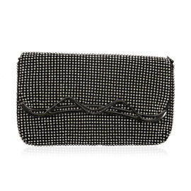 AAA White Austrian Crystal Party Glamour Clutch Bag with Chain Strap in Black Tone (Size 19x11 Cm)