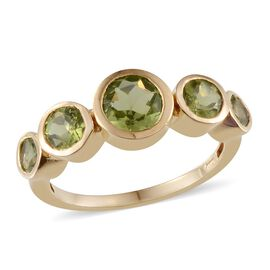 AA Hebei Peridot (Rnd 1.40 Ct) 5 Stone Ring in 14K Gold Overlay Sterling Silver 3.150 Ct.