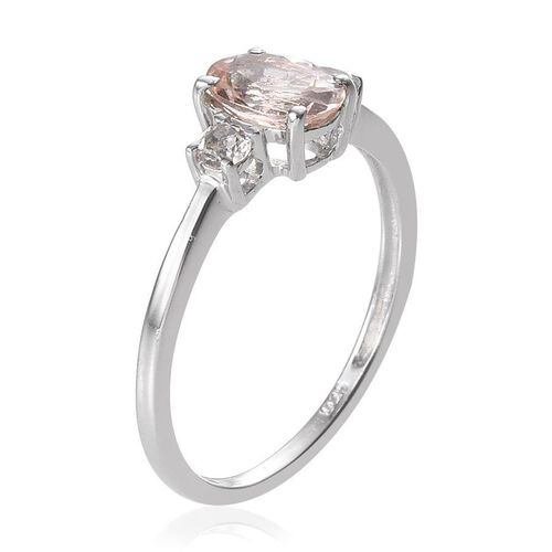 Marropino Morganite (Ovl 0.50 Ct), White Topaz Ring in Platinum Overlay Sterling Silver 0.650 Ct.