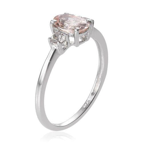 Marropino Morganite (Ovl 0.50 Ct), White Topaz Ring in Platinum Overlay Sterling Silver 0.650 Ct.