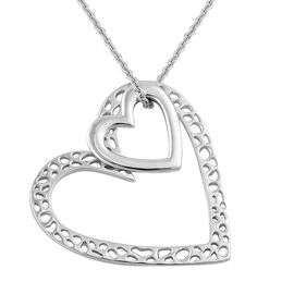 RACHEL GALLEY Rhodium Plated Sterling Silver Heart Pendant With Chain (Size 30), Silver wt 13.00 Gms.