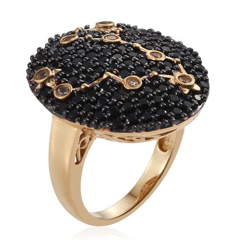 Night Sky Boi Ploi Black Spinel, White Topaz Cluster Silver Ring in 14K Gold Overlay 2.750 Ct.