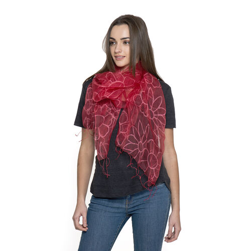 100% Mulberry Silk Red Colour Floral Pattern Scarf (Size 180x50 Cm)