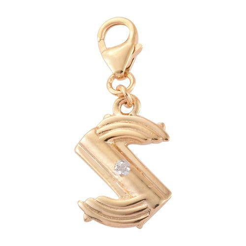 Diamond (Rnd) Initial S Charm in 14K Gold Overlay Sterling Silver