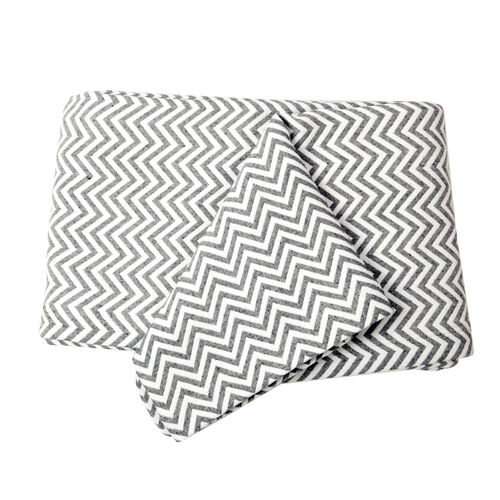 (Option-1) Woven in Portugal Doubleface Pique Bedspread Zigzag Grey-White 180x260 cm 80% Egyptian Cotton 20% Polyester for strength.