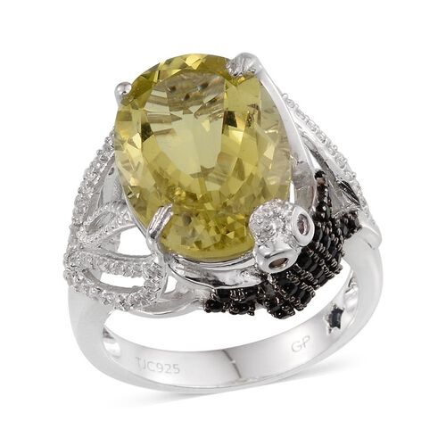 GP Lemon Quartz (Ovl 12.65 Ct), Rhodolite Garnet, Boi Ploi Black Spinel, Kanchanaburi Blue Sapphire and White Topaz Ring in Platinum Overlay Sterling Silver 13.750 Ct.