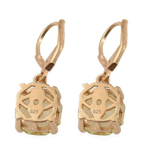 Natural Ouro Verde Quartz (Octillion Cut) Lever Back Earrings in 14K Gold Overlay Sterling Silver 7.000 Ct.