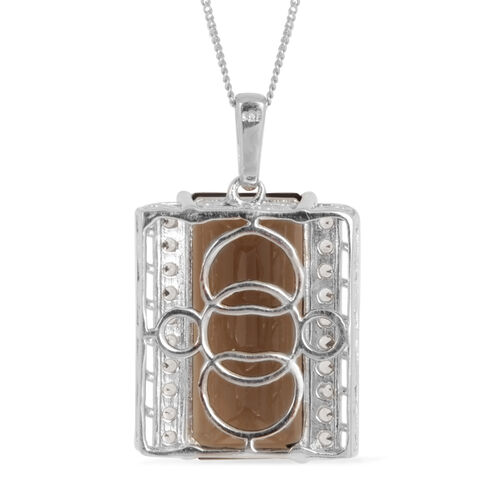 Brazilian Smoky Quartz (Oct 16.50 Ct), White Topaz Pendant With Chain in Platinum Overlay Sterling Silver 17.250 Ct.