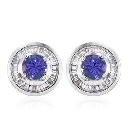 RHAPSODY 950 Platinum AAAA Tanzanite (Rnd), Diamond (VS/E-F) Stud Earrings (with Screw Back) 1.750 Ct.