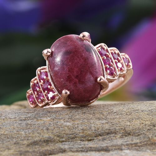 Norwegian Thulite (Ovl 6.75 Ct), Burmese Ruby Ring in Rose Gold Overlay Sterling Silver 7.250 Ct.