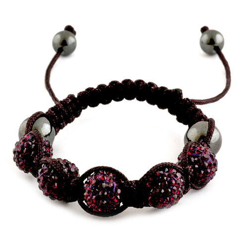Shamballa Friendship Purple Austrian Crystal and Hematite Bracelet (Adjustable)