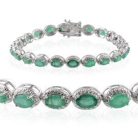 Kagem Zambian Emerald (Ovl), Diamond Bracelet in Platinum Overlay Sterling Silver (Size 7.5) 9.650 Ct.