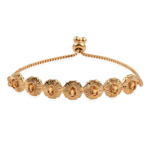 Citrine (Ovl) Adjustable Bracelet (Size 6 to 9) in ION Plated 18K Yellow Gold Bond 1.250 Ct.