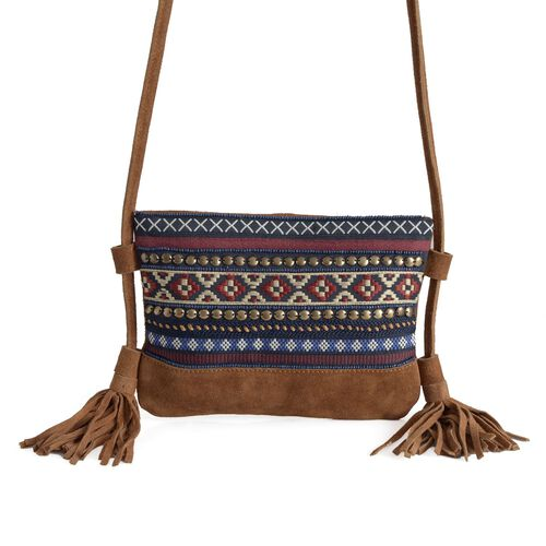 Genuine leather Embroidered Chocolate Colour Shoulder Bag with Tassels (Size 22x17 Cm)