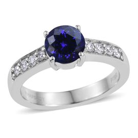 RHAPSODY 950 Platinum 2 Carat AAAA Tanzanite Round Solitaire Ring, Diamond VS E-F.