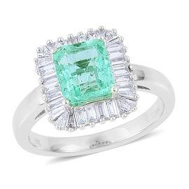 ILIANA 18K W Gold Boyaca Colombian Emerald (1.50 Ct), Diamond Ring 2.250 Ct.