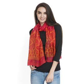 100% Mulberry Silk Orange, Red and Multi Colour Hand Screen  Printed Scarf (Size 180x50 Cm)