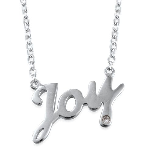 Diamond (Rnd) Joy Message Necklace (Size 18) in Platinum Overlay Sterling Silver