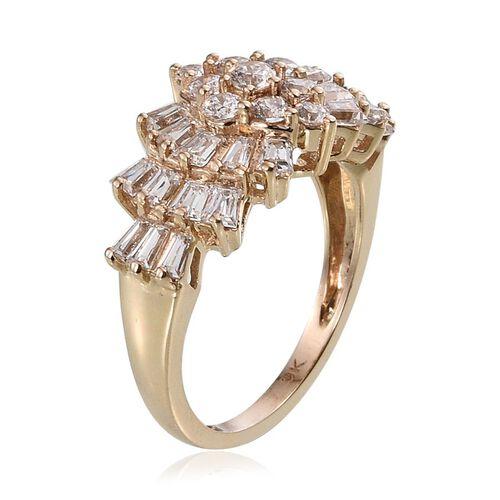 9K Y Gold (Rnd) Cluster Ring Made with SWAROVSKI ZIRCONIA