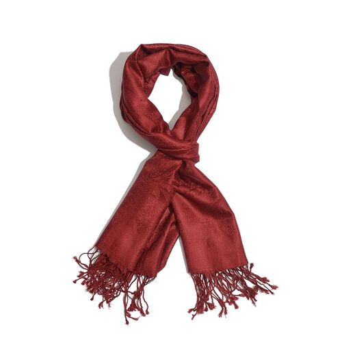 100% Superfine Silk Paisley Pattern Red Colour Jacquard Jamawar Scarf with Fringes (Size 180x70 Cm) (Weight 125-140 Grams)
