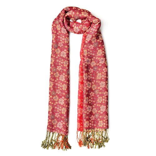 Yellow and Black Colour Small Plum Blossom Pattern Light and Dark Red Colour Scarf with Fringes (Size 170x70 Cm)