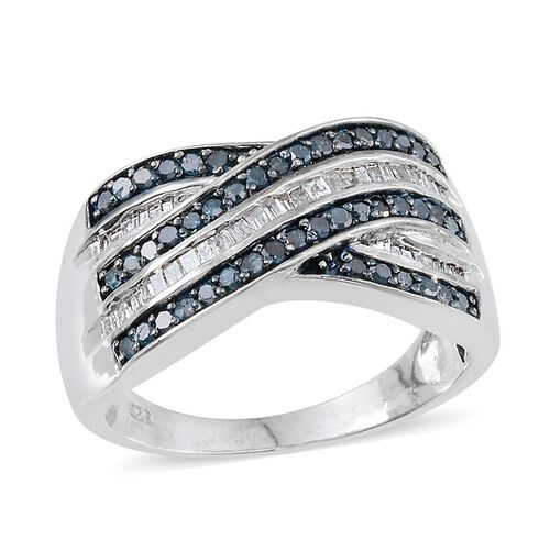 Blue Diamond (Rnd), White Diamond Criss Cross Ring in Platinum Overlay Sterling Silver 1.000 Ct.