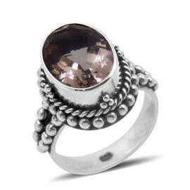 Royal Bali Collection Blush Triplet Quartz (Ovl) Solitaire Ring in Sterling Silver 5.500 Ct.