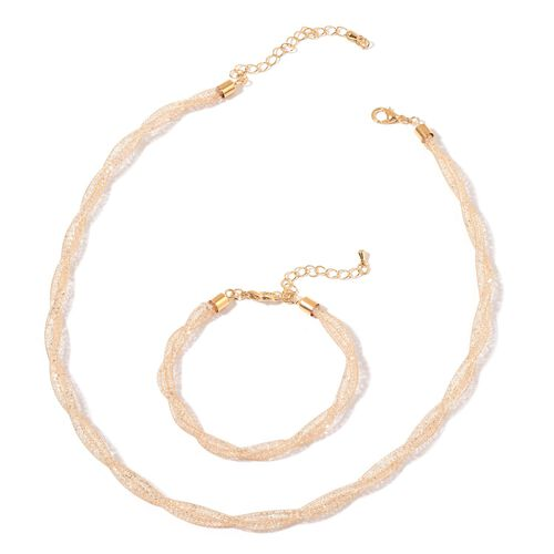 AAA White Austrian Crystal Necklace (Size 16 with 2 inch Extender) and Bracelet (Size 7 with 2 inch Extender) in Gold Tone