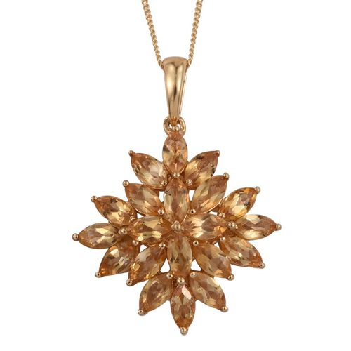 Citrine (Mrq) Cluster Pendant With Chain in 14K Gold Overlay Sterling Silver 4.500 Ct.
