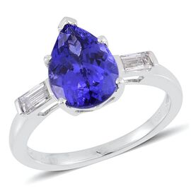 ILIANA 18K W Gold AAA Tanzanite (Pear 3.00ct), Diamond (SI/G-H) Ring 3.250 Ct.