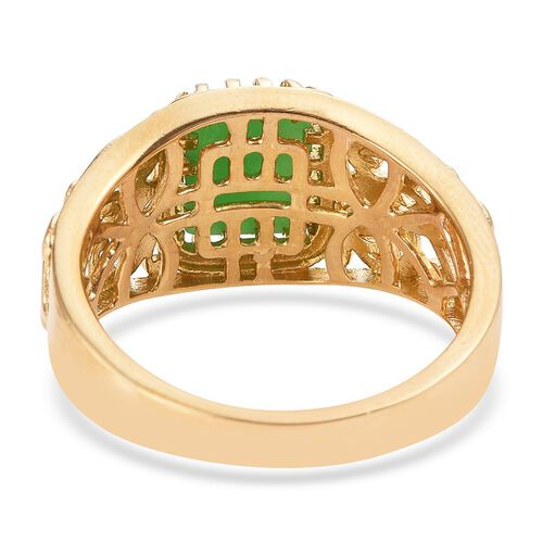 Green Jade (Bgt) Solitaire Ring in 14K Gold Overlay Sterling Silver 2.750 Ct.