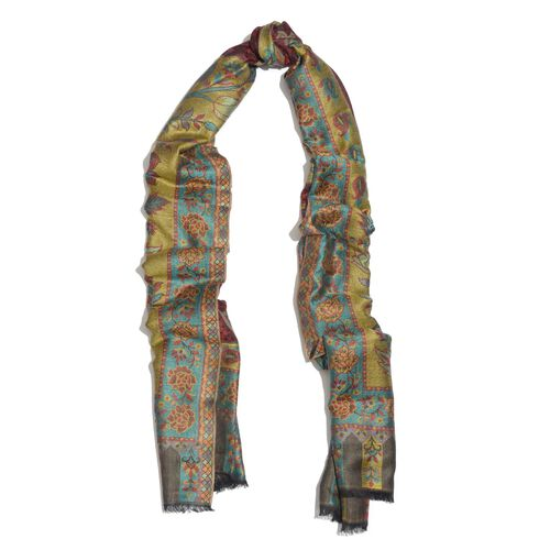 100% Superfine Modal Red, Green and Multi Colour Floral Pattern Jacquard Scarf (Size 190x70 Cm)